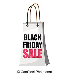 Shopping bag black friday sale icon, cartoon style