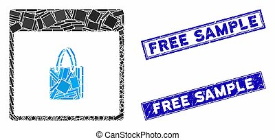 Shopping Bag Calendar Page Mosaic and Scratched Rectangle Free Sample Seals