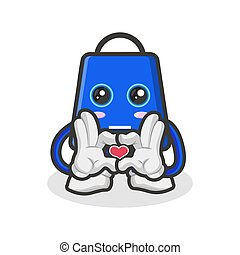 shopping bag character mascot is in the style of love with his hand