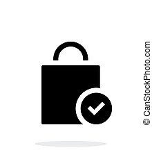 Shopping bag check simple icon on white background.