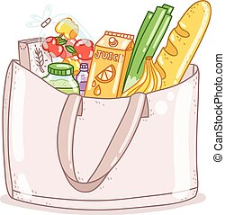 Shopping bag full of food and other products