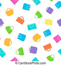 Shopping bag color icons and flat style isolated on white background seamless pattern for your business. Vector Illustration