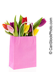 Shopping bag colorful tulips