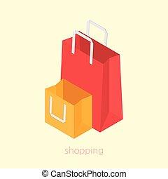 Shopping bag concept design 3d isometric vector illustration