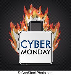 Shopping Bag Cyber Monday Fire