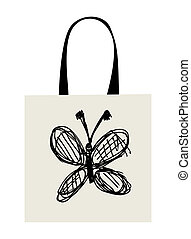 Shopping bag design, funny butterfly sketch