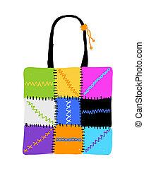 Shopping bag design, hand drawn sketch