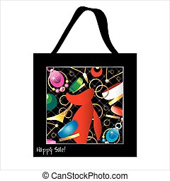 Shopping bag design with woman jewelry
