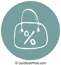 Shopping bag discoun icon on blue background