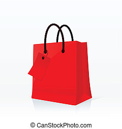 Shopping bag - Red shopping bag vector illustration