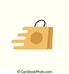 Shopping bag fast vector logo, flat cartoon quick paper bag icon isolated, concept of fast delivery or shipping clipart