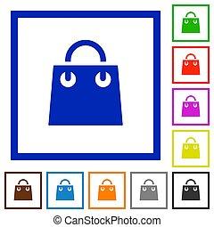 Shopping bag flat framed icons