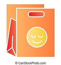 Shopping bag flat icon. Packet with smiley color icons in trendy flat style. Package gradient style design, designed for web and app. Eps 10.