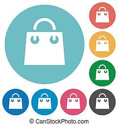 Shopping bag flat round icons