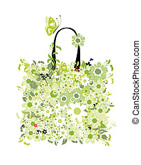 Shopping bag, floral design