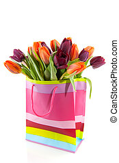 Shopping bag ful of tulips
