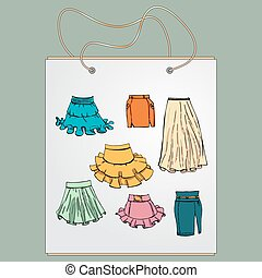 Shopping bag, gift bag with the image of fashionable things. Fashion set. Various skirts. Illustration in hand drawing style.