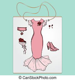 Shopping bag, gift  with the image of fashionable things.