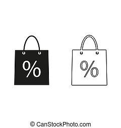 shopping bag - green vector icon