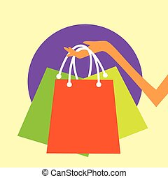 Shopping Bag Hand Icon Colorful Flat Design