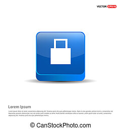 Shopping bag icon - 3d Blue Button