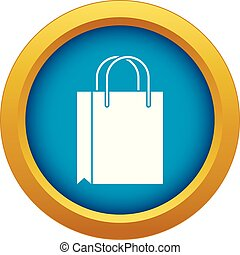 Shopping bag icon blue vector isolated