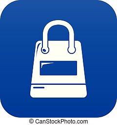 Shopping bag icon blue vector