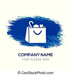 Shopping bag icon - Blue watercolor background