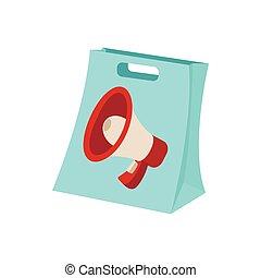 Shopping bag icon, cartoon, on white
