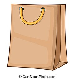 Shopping bag icon, cartoon style