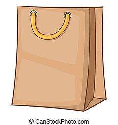 Shopping bag icon, cartoon style