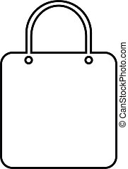 Shopping bag icon on white background.