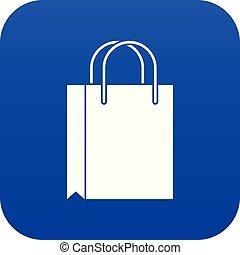Shopping bag icon digital blue