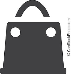 Shopping bag icon in black on a white background. Vector illustration