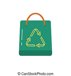 Shopping bag icon in flat style.