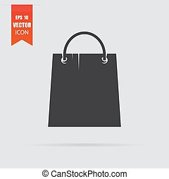 Shopping bag icon in flat style isolated on grey background.