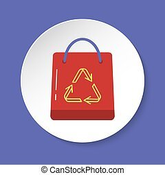 Shopping bag icon in flat style on round button