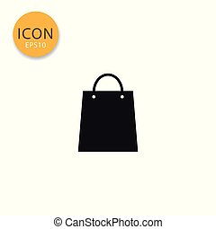 Shopping bag icon isolated flat style.