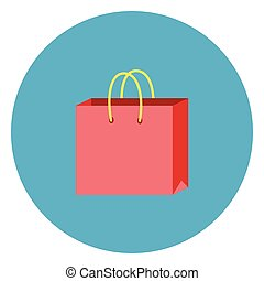 Shopping Bag Icon On Round Blue Background