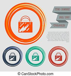 Shopping bag icon on the red, blue, green, orange buttons for your website and design with space text. Vector