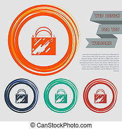 Shopping bag icon on the red, blue, green, orange buttons for your website and design with space text.
