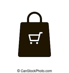 Shopping bag icon on white background. Vector illustration EPS 10.