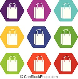 Shopping bag icon set color hexahedron