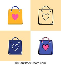 Shopping bag icon set in flat and line styles