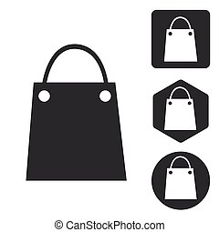 Shopping bag icon set, monochrome