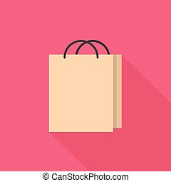Shopping Bag Icon | Set of great flat icons with style long shadow icon and use for network, communication, internet and much more.