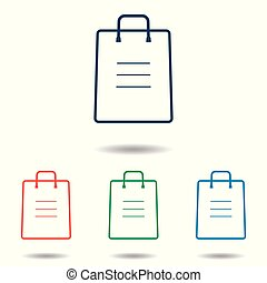Shopping bag icon set - simple flat design isolated on white background, vector
