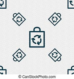 Shopping bag icon sign. Seamless pattern with geometric texture. Vector