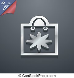 shopping bag icon symbol. 3D style. Trendy, modern design with space for your text Vector