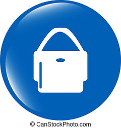 shopping bag icon web button isolated on white background